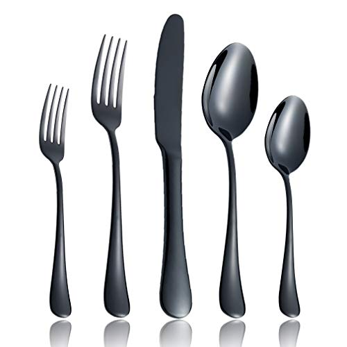 20-Piece Flatware Silverware Set Service for 4 Stainless Steel Cutlery Include Knife Fork Spoon Dishwasher Safe (Black) ()