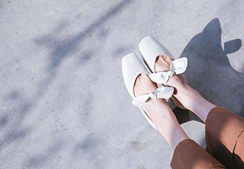 Negro 34 Zapatos pie 40 Arco del Blanco Zapatos Dulces de Cuadrado Mujeres 39 del Solos Tamaño Color del Las Trabajo Rojo Planos Tamaño Dedo de Zapatos Blanco Zapatos qnWB0wgUB