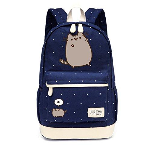 Bolsa de lona Mochilas de punto de flor Wave mochila para adolescentes Bolsa de hombro de viaje de escuela de niñas New Navy Blue1
