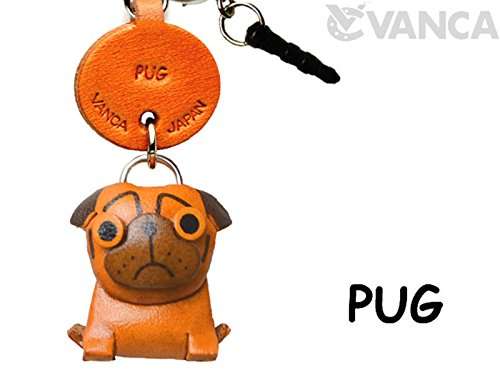 Pug Leather Dog Earphone Jack Accessory / Dust Plug / Ear Cap / Ear Jack *VANCA* Made in Japan #47751