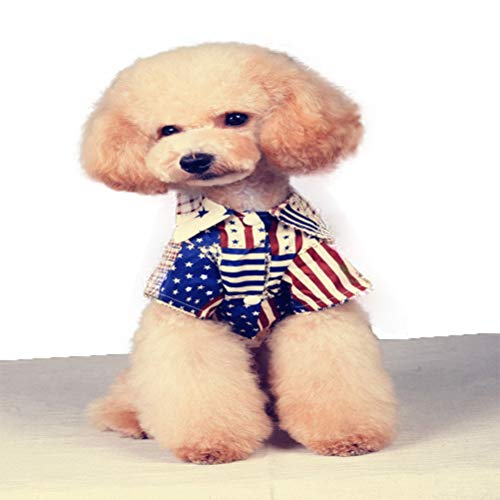 WORDERFUL Pet Flag Shirt Dog Blouse Coutume American Independence Day Jacket Vest Star Printing Cotton Soft for Dogs Cats (L)]()