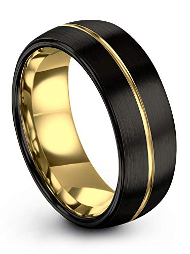 Midnight Rose Collection Tungsten Wedding Band Ring 8mm for Men Women 18k Yellow Gold Plated Dome Center Line Black Brushed Polished Size 9