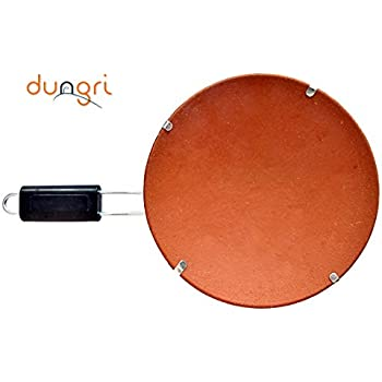 Dungri India New Natural Soil Mitti tawa With Bakelite Handle For Making Rotis/Indian Bread Items