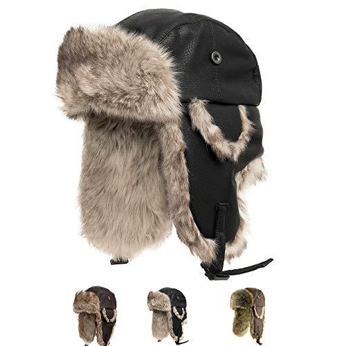 Ushanka Trooper Russian Pilot Aviator Leather Winter Trapper Hat Black 7 3/4