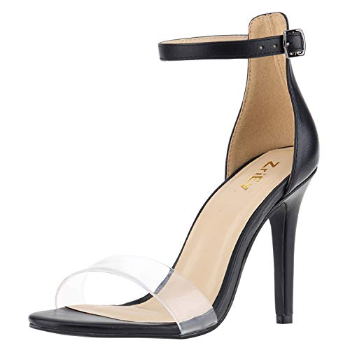 ZriEy Women's Heeled Sandals Ankle Strap High Heels 10CM Open Toe Bridal Party Shoes Black Clear Size 8