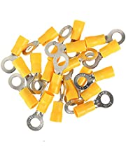 """HOUTBY 100Pcs Yellow 5/16"""" Copper Ring Butt Insulated Terminals Connectors 10-12 Ga Crimp Wire Electrical Cable Crimp Kit Quick M8"""