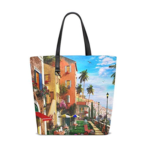 Mediterranean Terrace Tote Bags Handbag Waterproof Shopping Totes For Women Girls Travel Beach Double-sided use ()