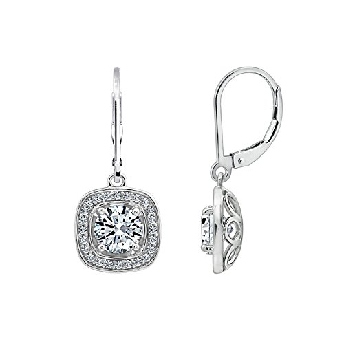 DIAMONBLISS Cubic Zirconia 3.16 carats Halo Lever Back Earrings, Rhodium Plated Sterling - Pearl Earrings Spinel