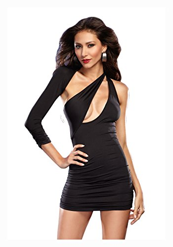 Dreamgirl Women's Sexy Bodycon Asymmetrical Jersey Knit Club Mini Dress