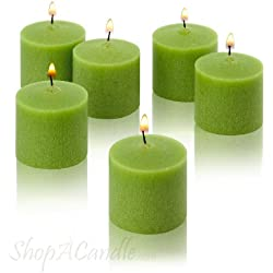 Lime Green Votive Candles - Box of 12 Unscented Candles - 10 Hour Burn Time - Candles for Weddings, Parties, Spas and Decorations