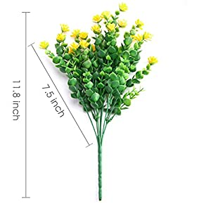 CQURE Artificial Flowers, Fake Flowers Artificial Greenery UV Resistant Plants Eucalyptus Outdoor Bridal Wedding Bouquet for Home Garden Party Wedding Decoration 5 Bunches (Yellow) 4