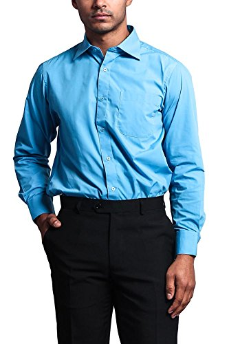 Blue Shirt Bengal Stripe French - G-Style USA Men's Regular Fit Long Sleeve French Convertible Cuff Dress Shirt - Turquoise - M/15.5/34-35
