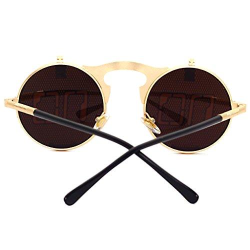 Vintage Shades Sunglasses Gothic m¨¦tal Lunettes en Femme Steam Clamshell No Gold ronde hibote personnalit¨¦ Punk Homme aHOIqwq