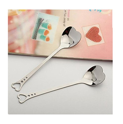 Hollow Handle Fork - Edtoy 1pcs Hollow Heart-shaped Stainless Steel Long Handle Mixing Spoon, Tea Spoon, Coffee Spoon, Ice Cream Spoon, Cocktail Stirring Spoons (A)