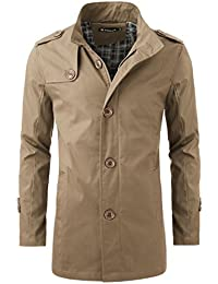 Men Single Breasted Button Tab Epaulets Windbreaker Trench Coat