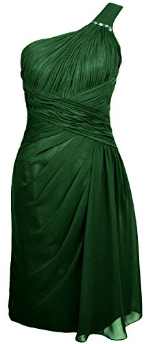 MACloth Women One Shoulder Short Draped Bridesmaid Dress Cocktail Party Gown Verde Oscuro
