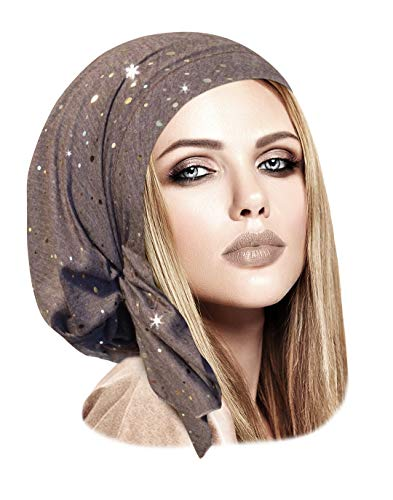 Tied Fashion Scarf (Pre-Tied Cotton Headwear Head-Scarf Chemo Cancer & Tichel Friendly in 30 Colors! (Taupe Gold Short))