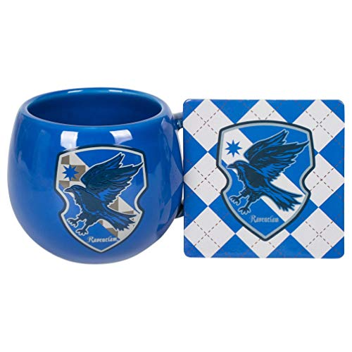 Ravenclaw Crest Blue and Silver 16 ounce Glossy Ceramic Mug and Coaster Set