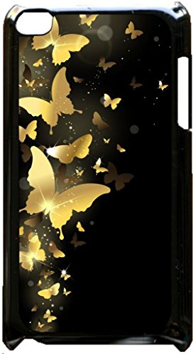 Gold Butterflies Black plastic snap on case - for the Apple iPod iTouch 4th Generation.