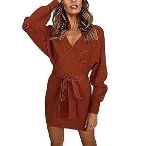 Sunday V Neck Knitted Sweater Dress,Women Sexy Bodycon Dress Belted Backless Knitwear Jumper Dress