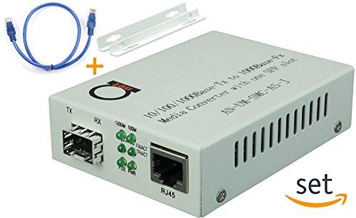 Open SFP slot - Gigabit Ethernet - Fiber Optic Media Converter - to UTP Cat5e/Cat6 10/100/1000 Copper – AutoSensing - SFP Slot Supporting Any Mini GBIC/SFP Gigabit Type - Jumbo Frame & LLF support by ADnet