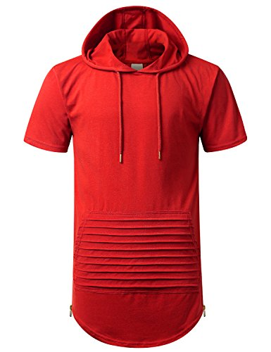 URBANCREWS Mens Hipster Hip Hop Short Sleeve Hoodie w/Zippers Red, L