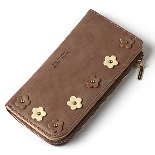 Portefeuille Titulaire à long Femmes Zipper Hasp Femelle de Sac Pocket amp; Carte Applique Crédit Portefeuille Main Fille Parure Mode brown Pour D'embrayage Purse fxYBzWqwXq