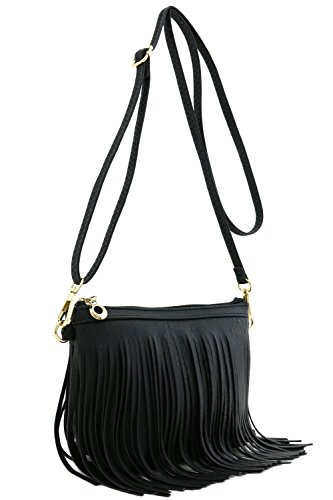 Small Fringe Crossbody Bag with Wrist Strap - Handbag Fringed Black