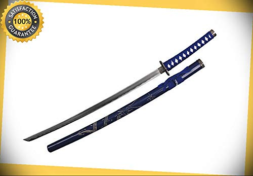 36.5'' Japanese Samurai Katana Sword with Dragon Engraved Scabbard and Tsuba BLUE perfect for cosplay outdoor camping for $<!--$81.96-->