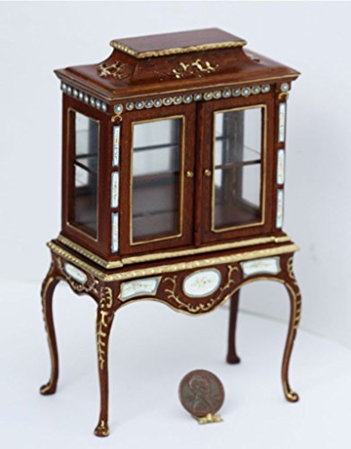 Walnut Painted Cabinet - Dollhouse Miniature Oriental Hand Painted Walnut Glass Display Cabinet on Table