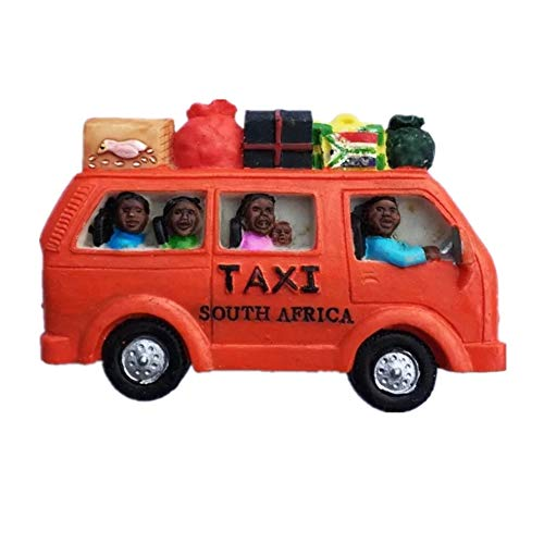 Red Taxi Cape Town South Africa Fridge Magnet 3D Resin Handmade Craft Tourist Travel City Souvenir Collection Letter Refrigerator Sticker