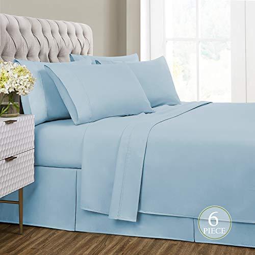 Sharry Home Linen California King Bed Sheets Set 6 Piece- Deep Pocket,Hypoallergenic, Ultra Soft,Wrinkle Resistant(Light Blue, California King)