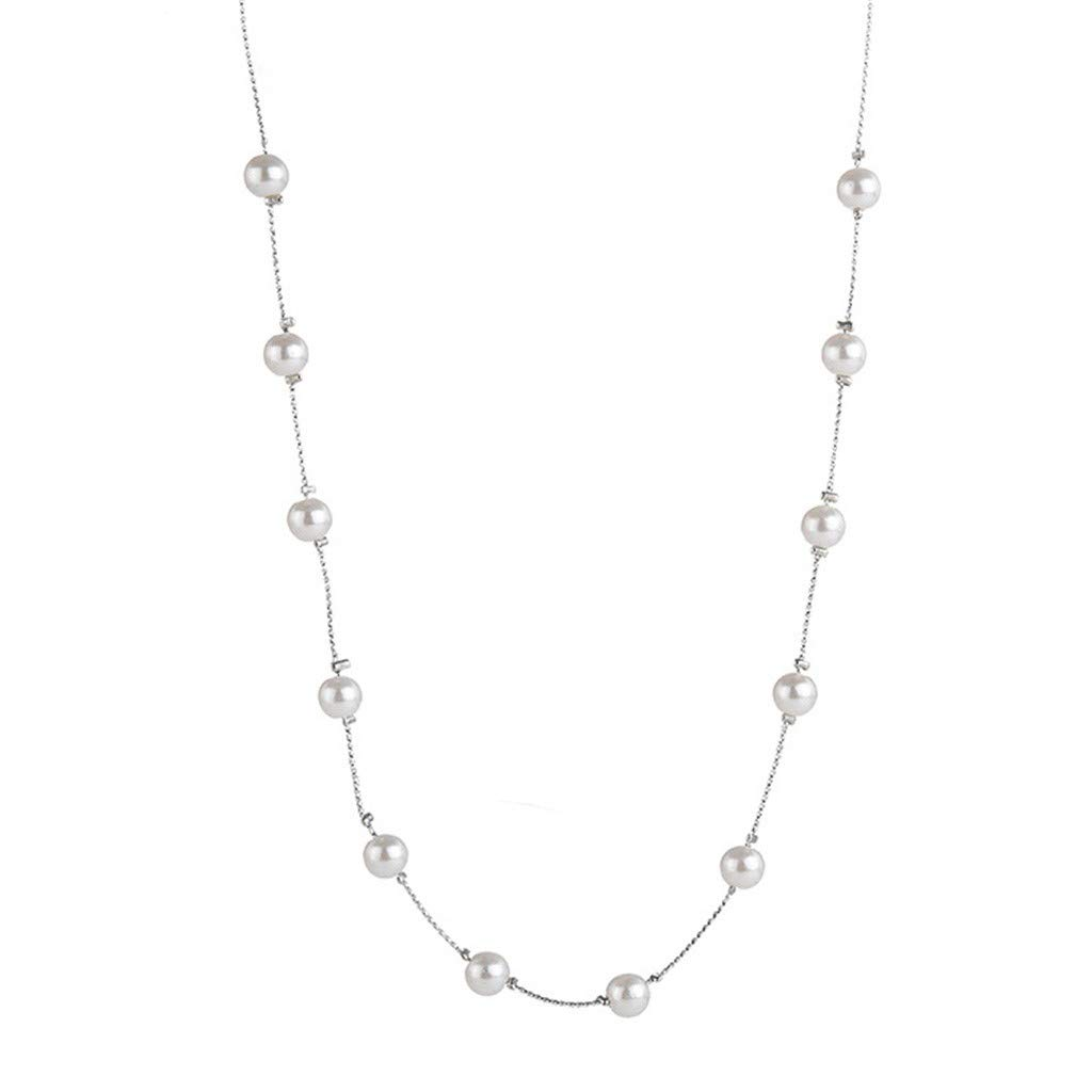 nanzhushangmao Simple Tiny Dainty Pearl Necklace-Birthstone Pearl Pendant bar Choker for Women Sterling Silver Chain Crystal Jewelry