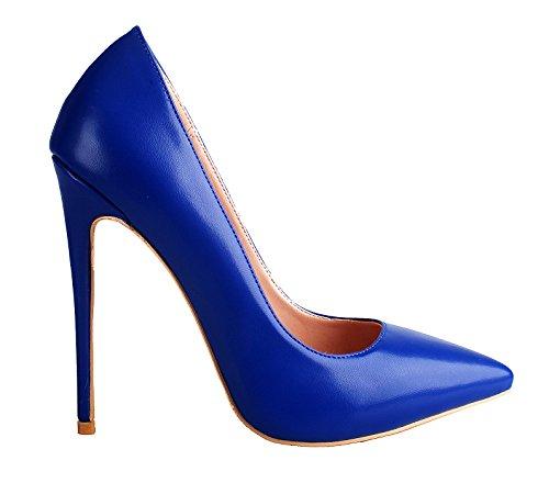 Stiletto Pu 4 Ci Donne Scarpe Pompe Tacco Dimensione Blu Alto Per Lusso Punta Aguzza Zaproma 15 W10wS