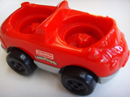 Fisher Price Little People Replacement Figure Vintage Retired Collectible ; Red Convertible Garage Car 2 Seat Vehicle
