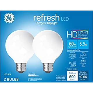 GE Lighting 31709 Finish Light Bulb Refresh HD Dimmable LED G25 Decorative Globe 5.5 (60-Watt Replacement), 500-Lumen Medium Base, 2-Pack, Frosted Daylight, 2 Count