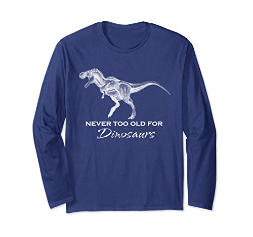 Unisex Adult Dinosaur Shirt - Funny Dinosaur Long Sleeve Shirt XL Navy