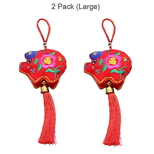 Annlaite Chinese New Year Decorations Year of Pig Chinese Spring Festival Home Decor Traditional Ornamental Sachet 2-Pack (Large with -