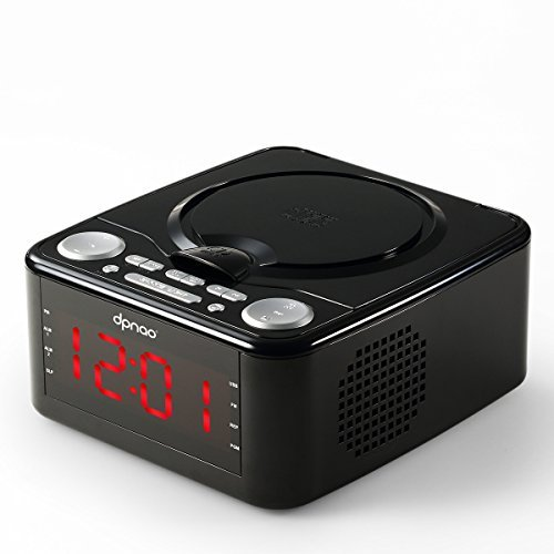 DPNAO CD Player with USB FM Radio Clock Dual Alarm Remote Headphone Home Audio System (Black)