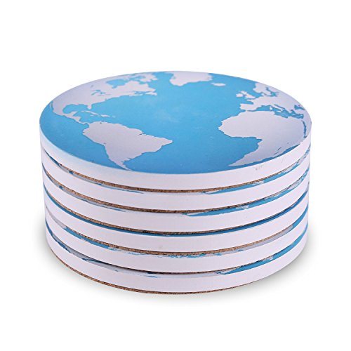 6-Piece Absorbent Stone Coaster Set for Drink - Blue Earth World Map