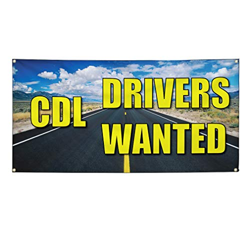 Vinyl Banner Sign Cdl Drivers Wanted #1 Business Outdoor Marketing Advertising Blue - 56inx140in (Multiple Sizes Available), 10 Grommets, Set of 2 from Sign Destination