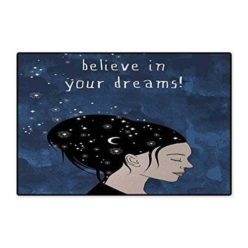- Motivational,Door-mat,Portrait of Woman with Dark Hair and Moon Stars Dream Believer Quote Feminine Art,Door Mats for Inside Bathroom Mat Non Slip,Blue 24