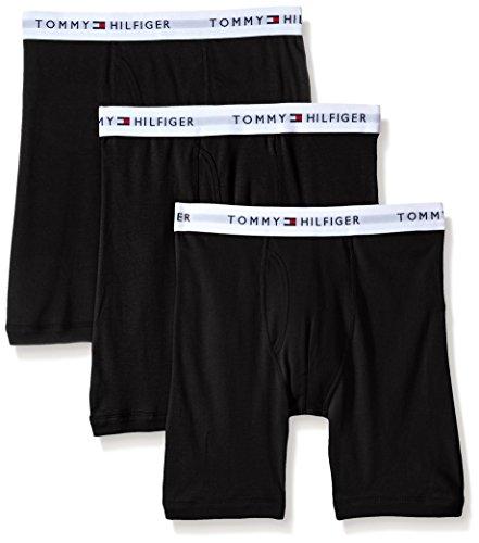 Calzoncillo de boxeador de algodón para hombre Tommy Hilfiger de 3 unidades, negro, pequeño (28-30)