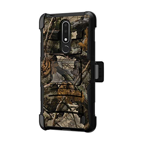 (TurtleArmor | Compatible for Nokia X3 Case | Nokia 3.1 Plus Case [Hyper Shock] Hybrid Dual Layer Armor Holster Belt Clip Case Kickstand - Tree Leaves Camouflage)