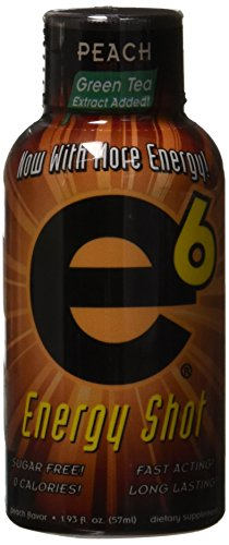 e6 Energy Shot Peach Flavor, Pack of 12 by e6