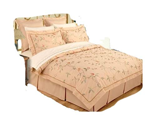 Cotton Sheet Set Emb - OctoRose Dark Beige Queen/Full 100% Embroidered Cotton Duvet Set and Sheets Set