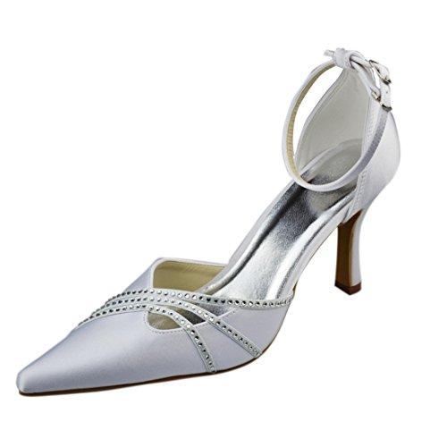 Minishion Dames Stiletto Hoge Hak Satijn Avondfeest Bruids Bruiloft Kristal Strappy Pumps Ivory-9cm Hak