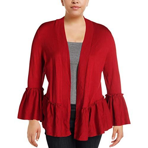 Alfani Womens Open Front Ruffled Cardigan Sweater Red - Red Alfani Sweater