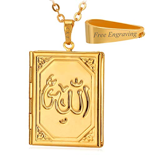 U7 Women Girls 18K Gold Plated Rolo Link Chain Rectangle Photo Locket Necklace Allah Pendant Muslim Jewelry, with Free Custom ()