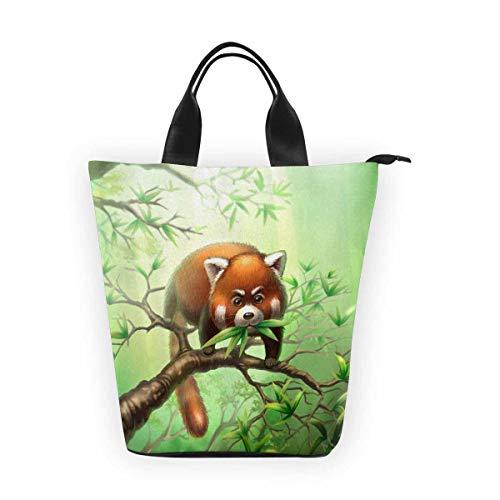 InterestPrint Nylon Cylinder Lunch Bag Tree Trunk Reusable Tote Bag ()
